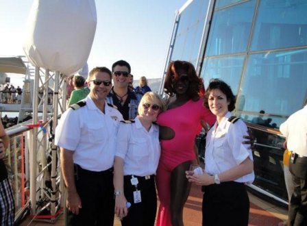Van Ulbrich and fellow crew members having a good time onboard a Royal Caribbean cruise.