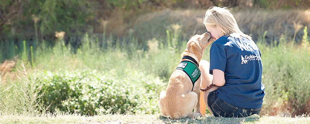 A teenaged puppy raiser seen from the back hugging her yellow Lab guide dog puppy.