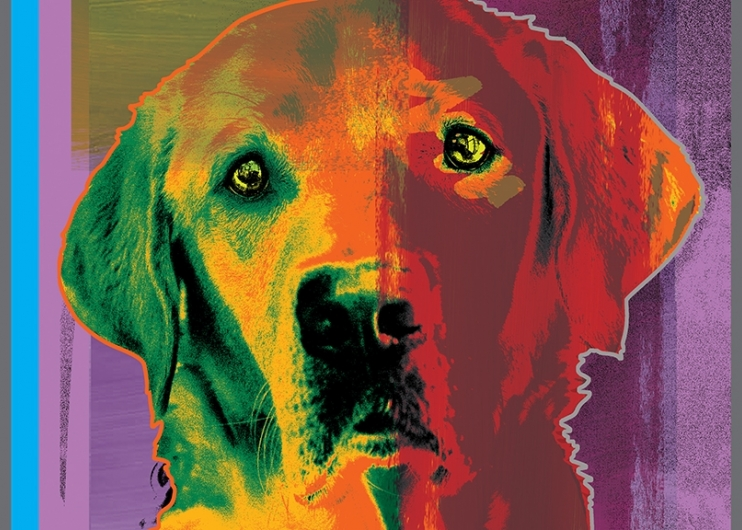 A colorful artistic rendering of a yellow Lab guide dog.