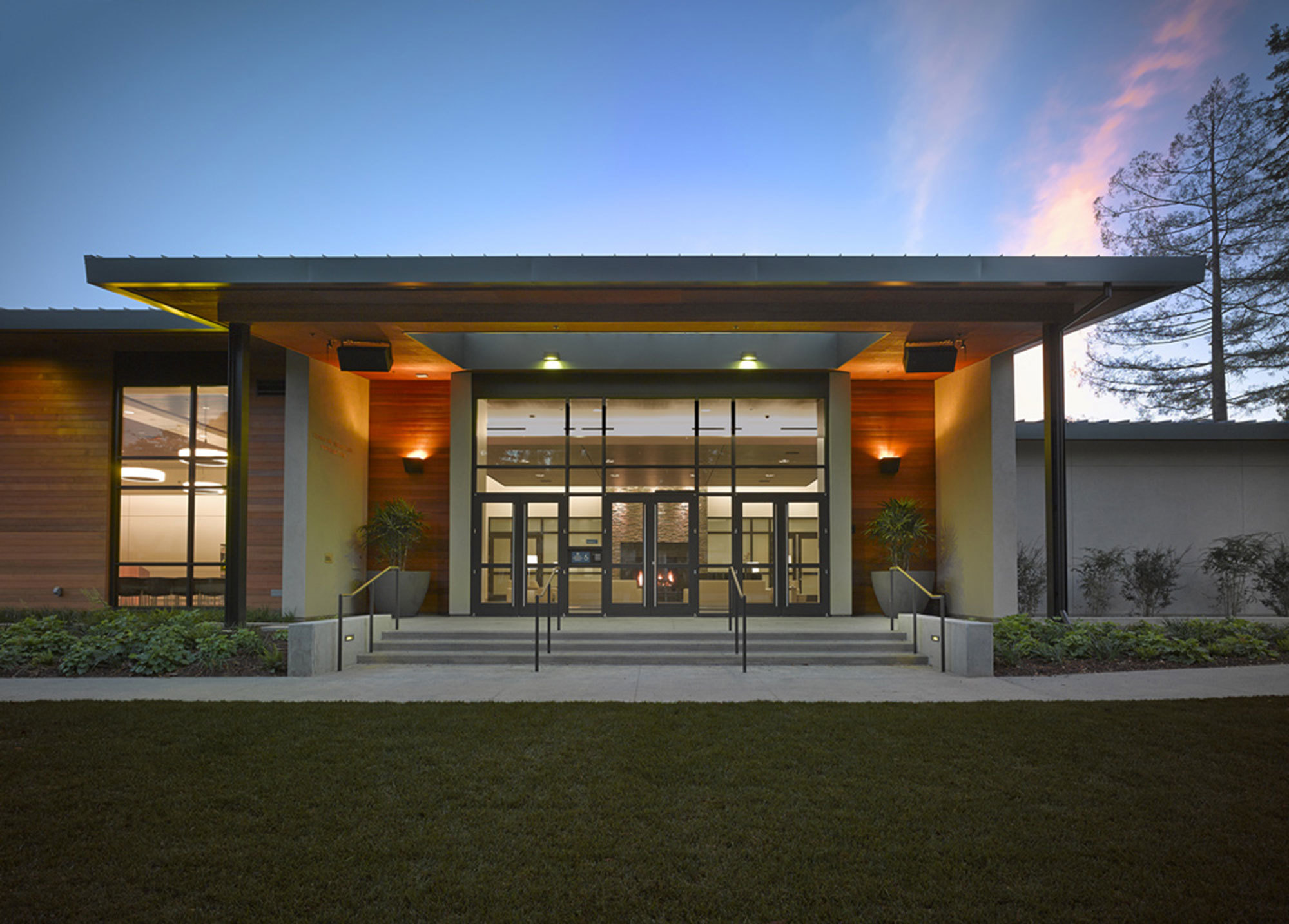 Image of the front of the Student Residence building (with wood paneling) on the San Rafael, CA campus