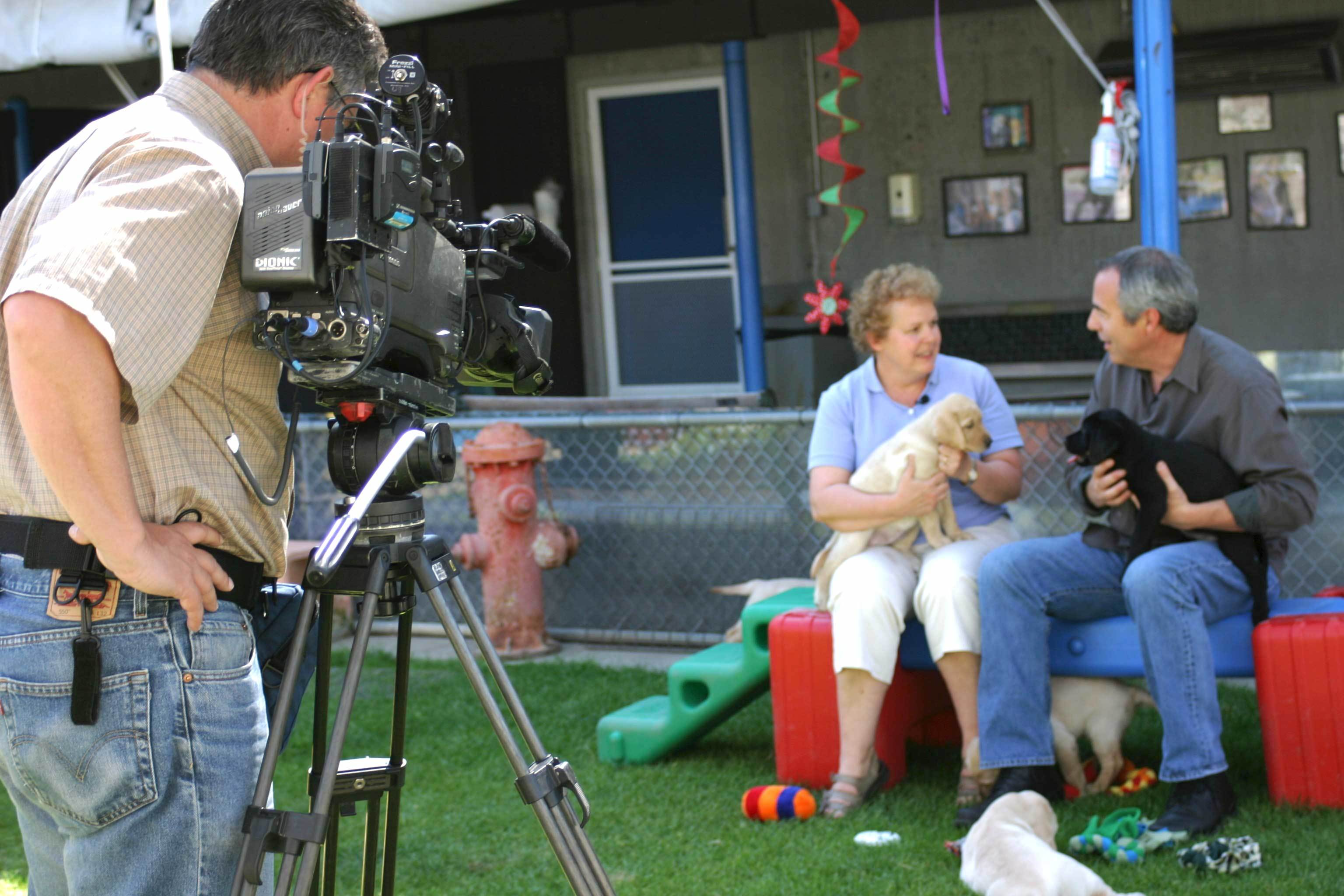Close-up image of a professional news camera in the puppy socialization yard  (in the background is a GDB staff member with a Bay Area news anchor - each are holding a puppy)