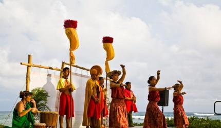 Royal court and hula dancers at the Sheraton Kauai luau   Hawaii Tourism Authority (HTA) / Tor Johnson