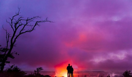 Halemaumau Crater at night.  Photo courtesy of Hawaii Tourism Authority (HTA) / Tor Johnson.