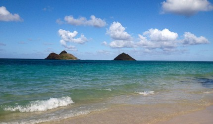 The twin islands off of Lanikai beach, Mokumanu and Mokulua.  Photo courtesy of Napua Heen.