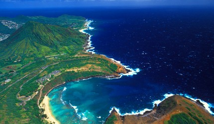 Aerial view of Hanauma Bay.  Photo courtesy of Hawaii Tourism Authority (HTA) / Heather Titus.