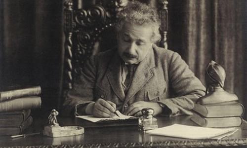 Einstein at Desk