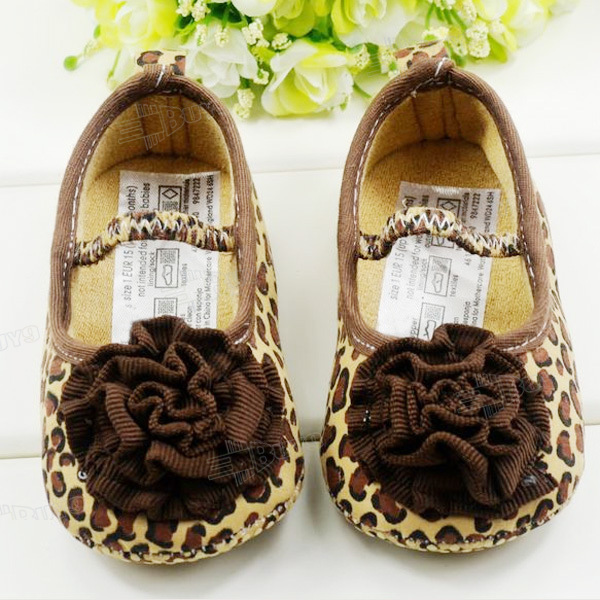 Toddler-baby-girls-Princess-Cloth-shoes-Brown-Leopard-rose-flower-Size-US-1-2-3