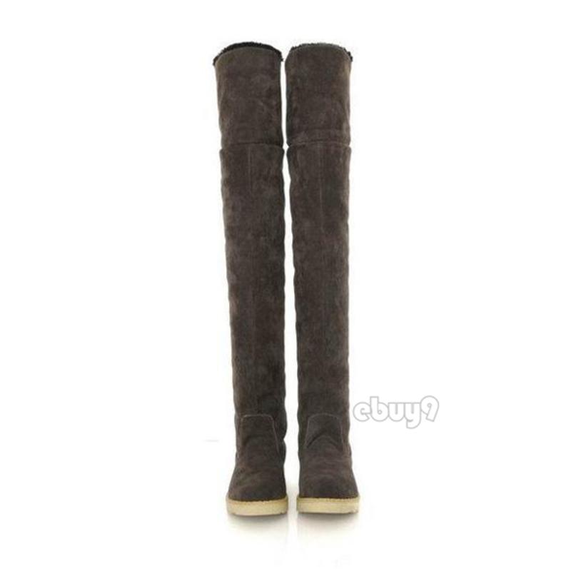 s winter flat thigh high snow boots s knee