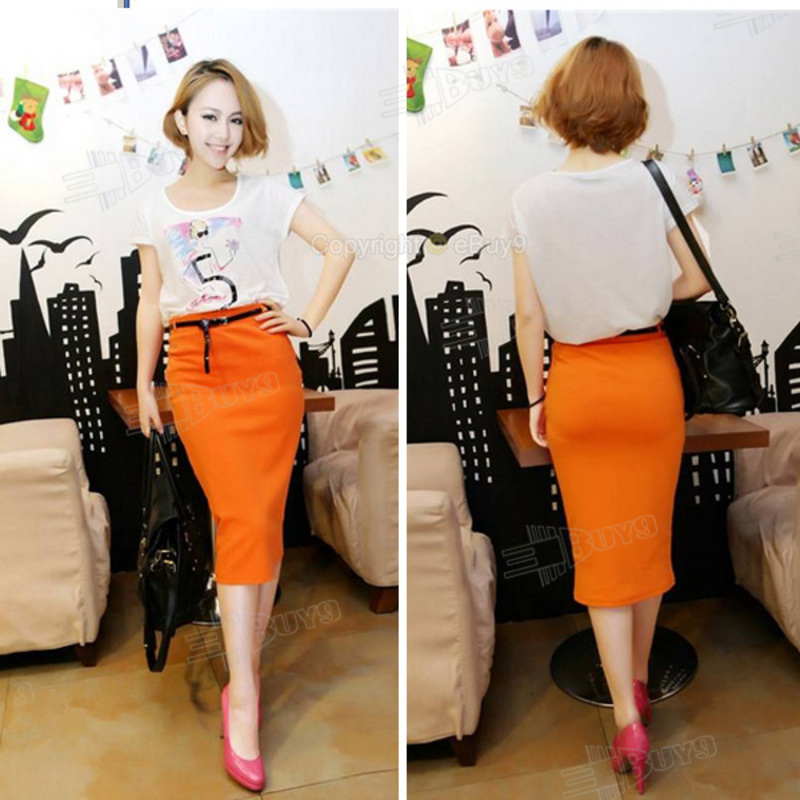 Pencil Skirt Belted Stretch High Waist Knee Length Celebrity Dress ...