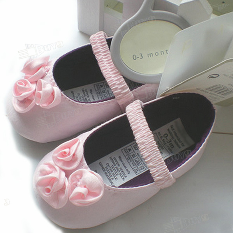 Silk Pink flower rose toddler baby girls Princess shoes Size:1-3 ...