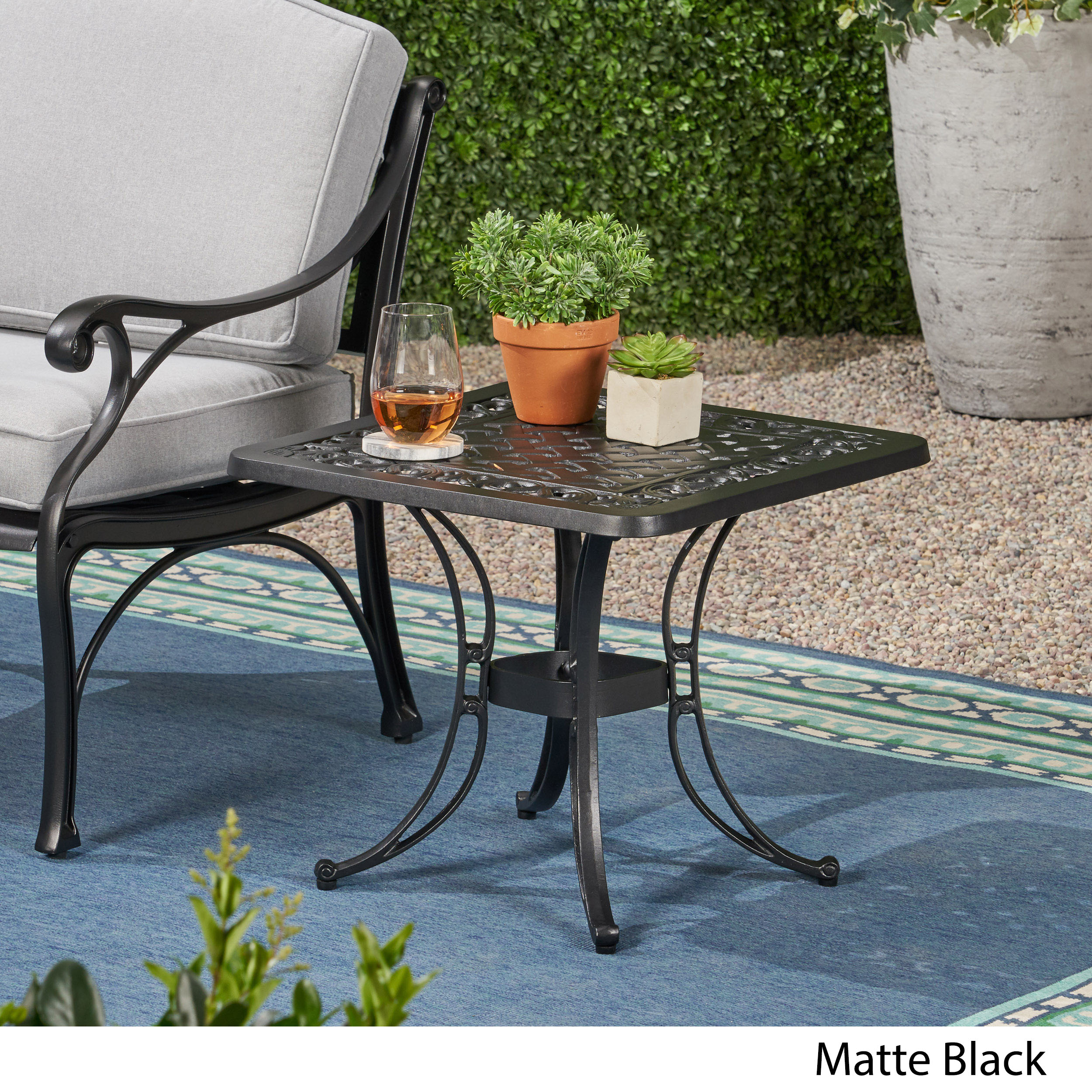 Isabel Outdoor Cast Aluminum Side Table with Woven Floral Border