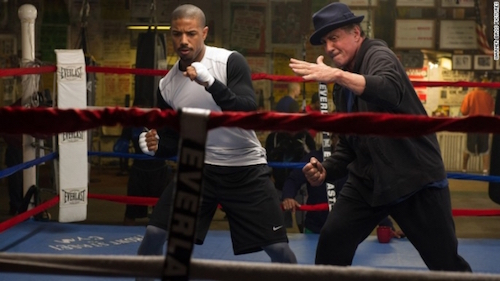 Still from creed trailer showing michael b jordon sylvester stallone