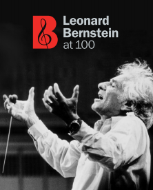 Leonard bernstein at 100 logo with photo