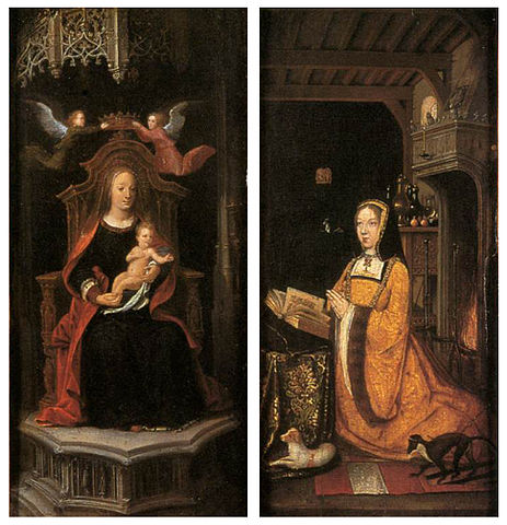 16th century unknown painters   diptych with margaret of austria worshipping   wga23613