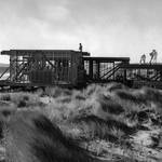 House under construction on Limantour Beach, c.1962. Though construction on this house was completed, it was torn down after the creation of the Pt. Reyes National Seashore.