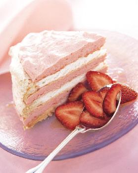 Frozen Vacherin Torte with Rhubarb Cream and Strawberries
