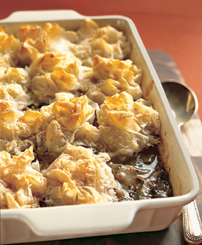Chicken and Mushroom Pie with Phyllo-Parmesan Crust