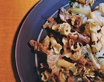 Pasta with Confit Duck and Savoy Cabbage