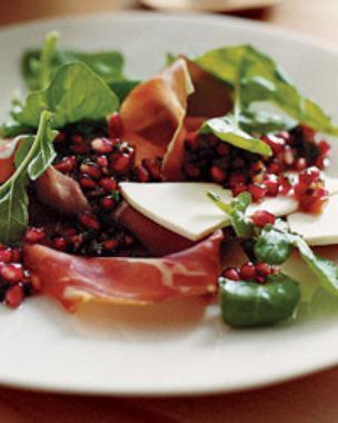 Serrano Ham and Arugula Salad with Pomegranate Salsa