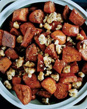 Five-Spice Glazed Sweet Potatoes with Walnut Toffee