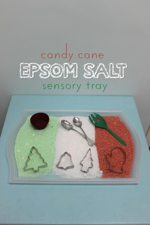 Candy Cane Epsom Salt Sensory Tray