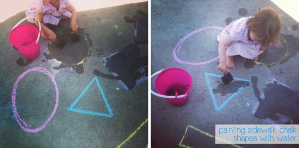 Painting Sidewalk Chalk Shapes With Water | Mama Papa Bubba