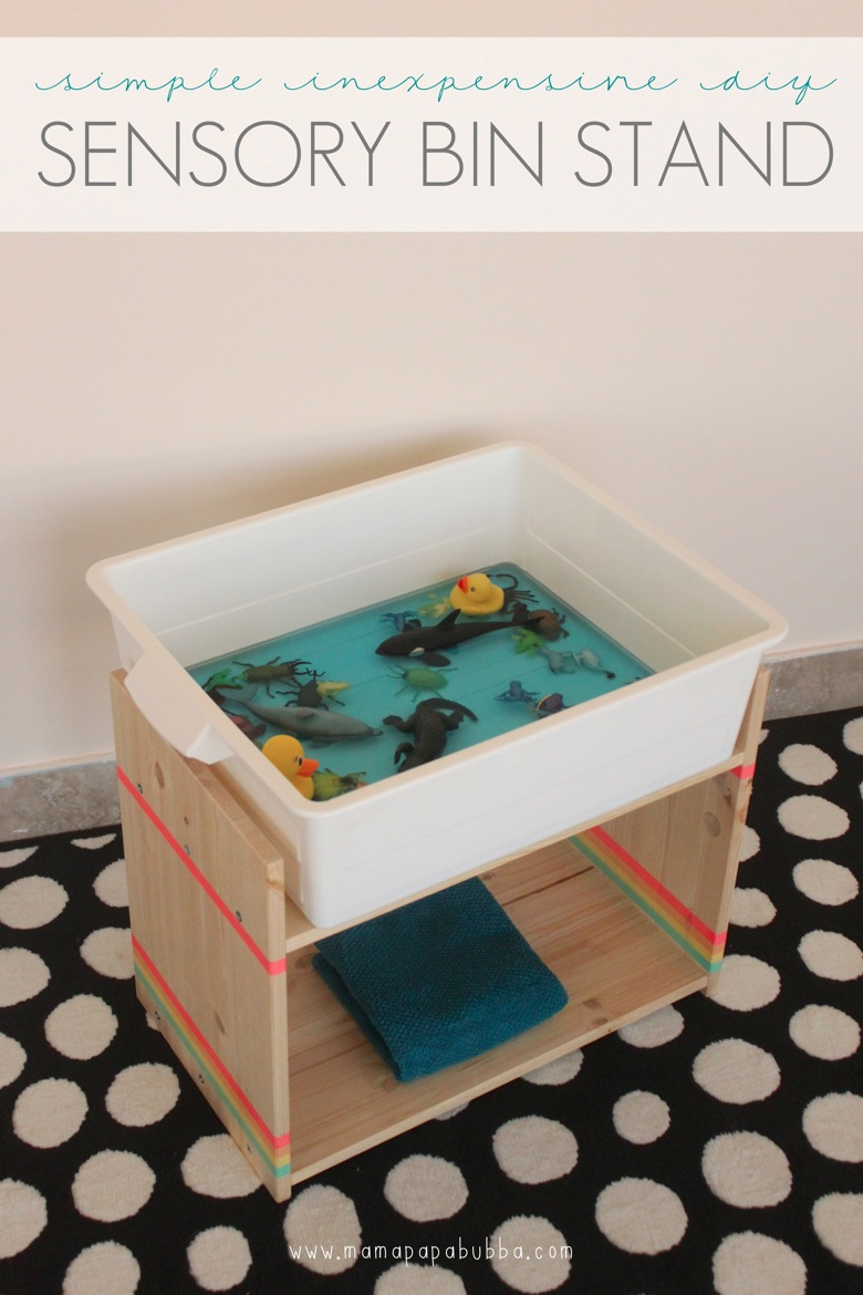 Simple Inexpensive DIY Sensory Bin Stand | Mama Papa Bubba