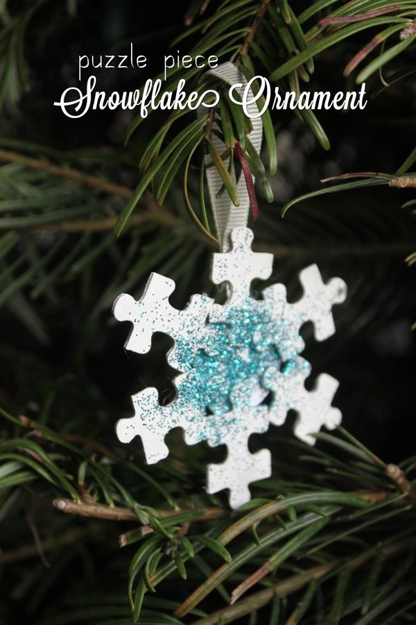 Puzzle Piece Snowflake Ornament Mama Papa Bubba