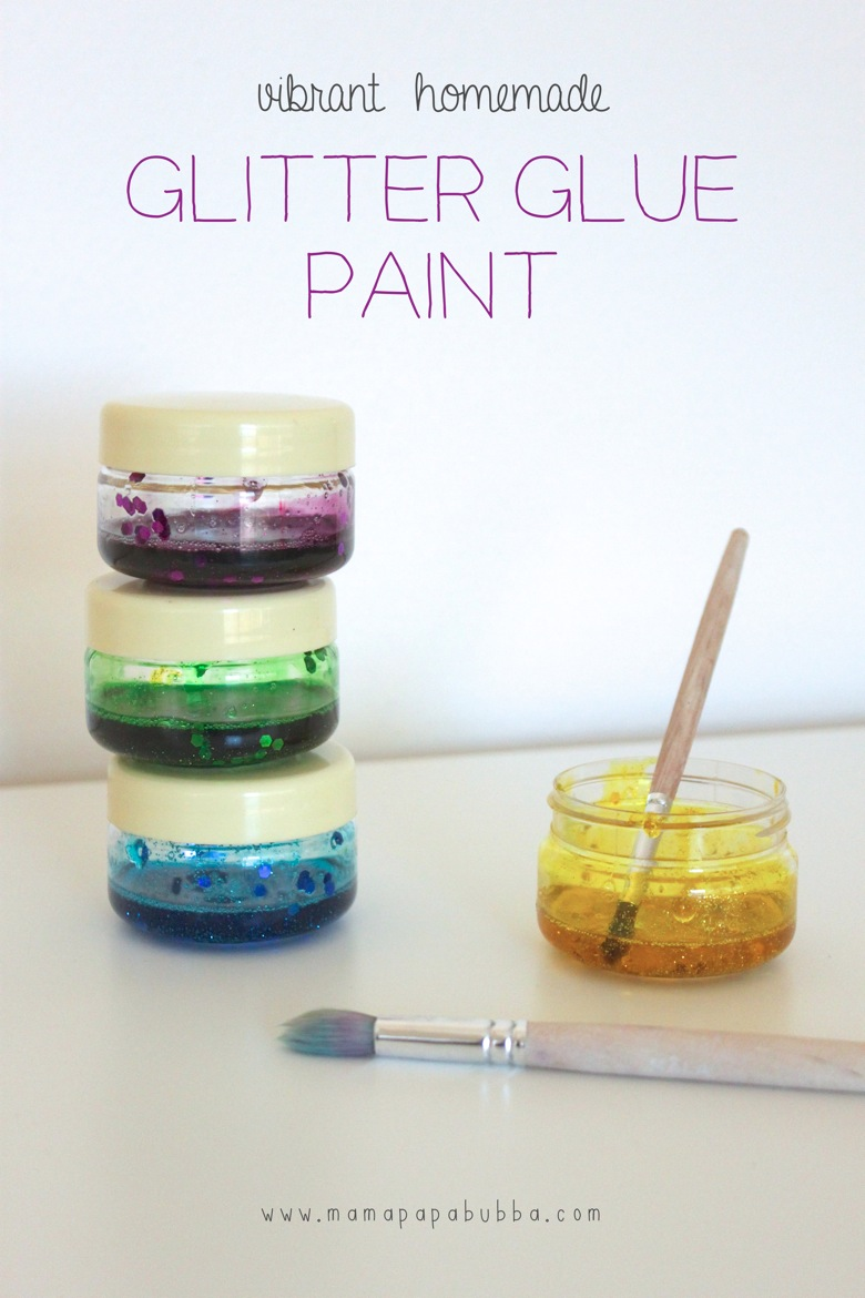 Vibrant Homemade Glitter Glue Paint | Mama Papa Bubba
