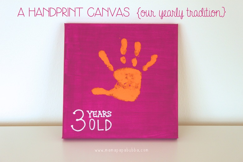 A Handprint Canvas  our yearly tradition | Mama Papa Bubba