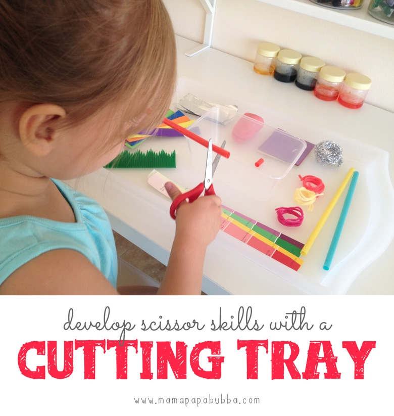Develop Scissor Skills with a Cutting Tray | Mama Papa Bubba