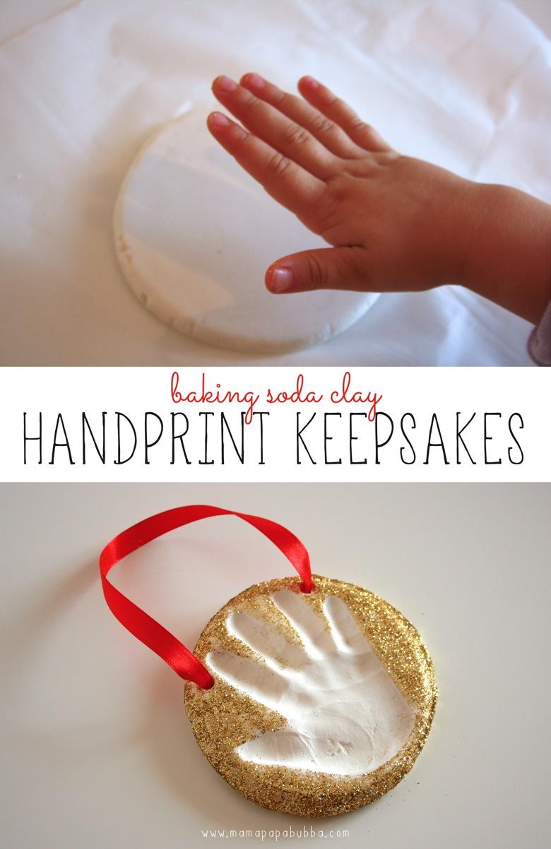 Baking Soda Clay Handprint Keepsakes | Mama Papa Bubba