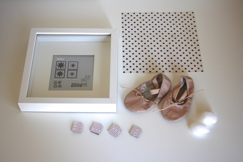 I picked up an inexpensive shadow box at Ikea chose a piece of scrapbook paper from my collection and grabbed a couple of cotton balls along with 4 ... & First Ballet Slippers Shadow Box - Mama.Papa.Bubba. Aboutintivar.Com