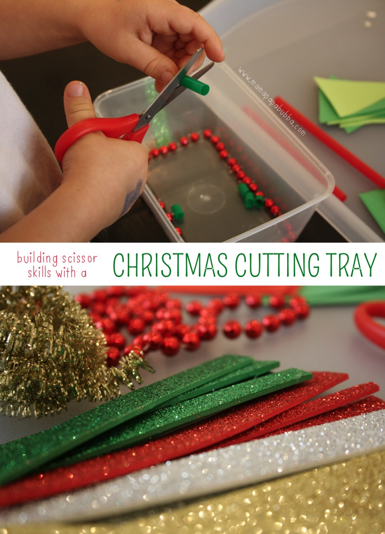 Building Scissor Skills with a Christmas Cutting Tray | Mama Papa Bubba