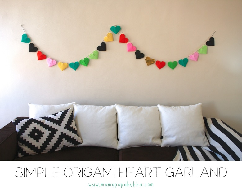 Simple Origami Heart Garland Mamapabubba