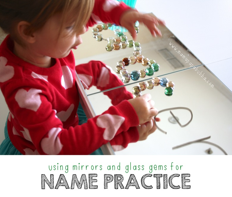 Using Mirrors and Glass Gems for Name Practice | Mama Papa Bubba