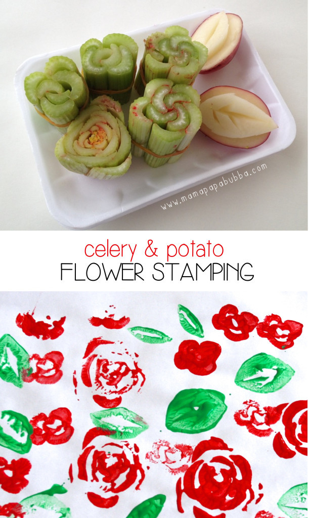 Celery and Potatoe Flower Stamping