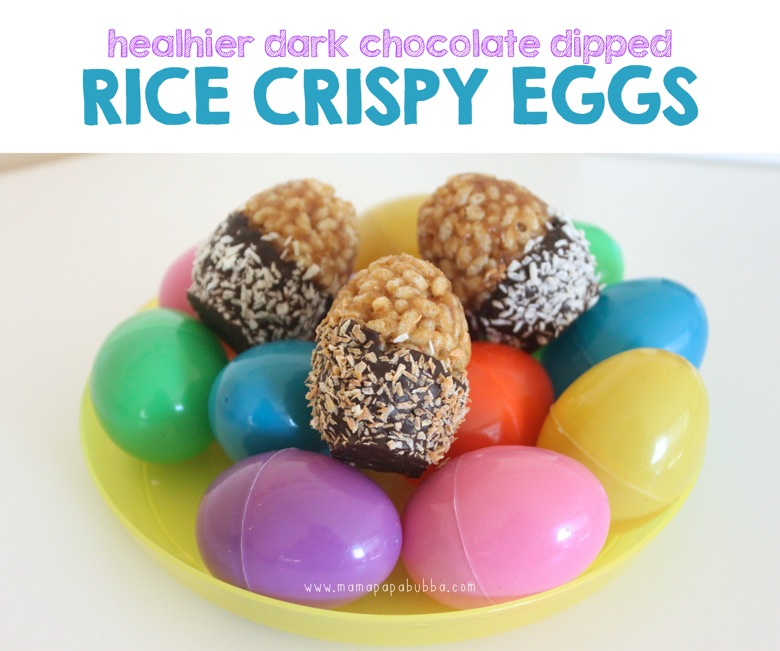 Healthier Dark Chocolate Dipped Rice Crispy Eggs | Mama Papa Bubba