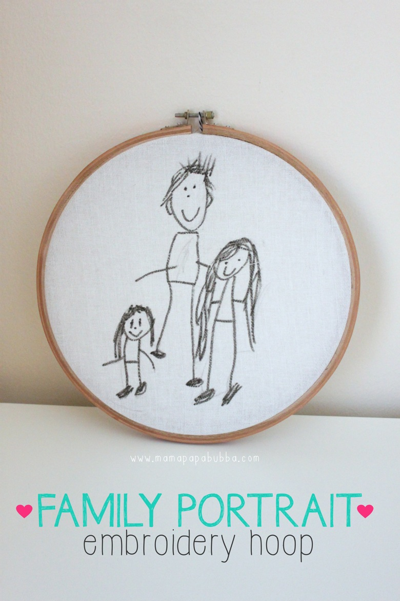 Family Portrait Embroidery Hoop | Mama Papa Bubba
