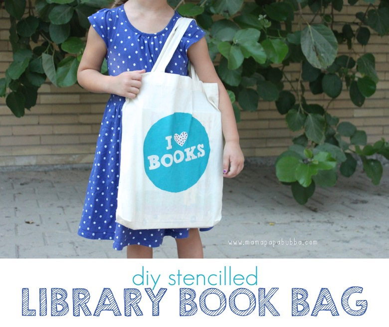 DIY Stencilled Library Book Bag | Mama Papa Bubba