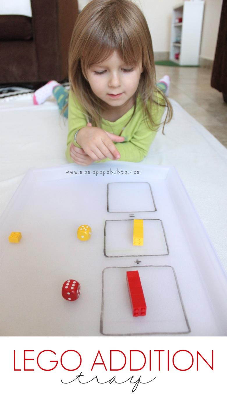 Simple LEGO Addition Tray | Mama Papa Bubba