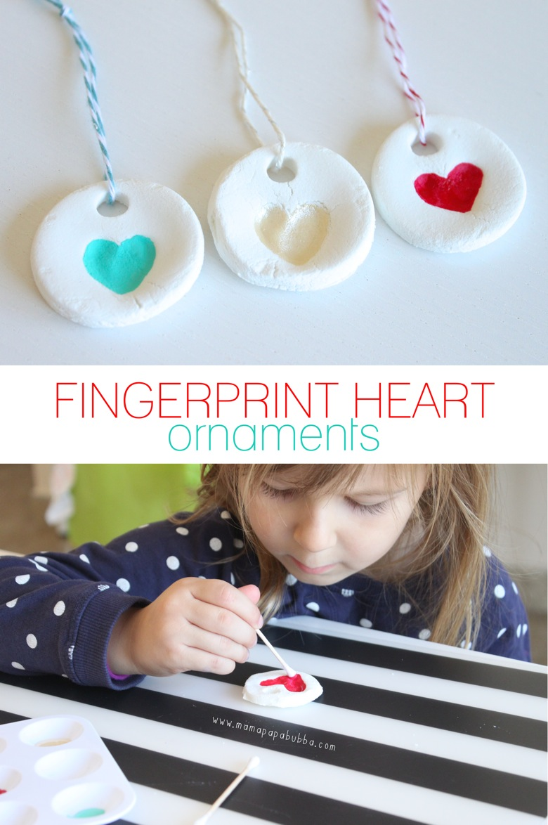 Fingerprint Heart Ornaments Mama.Papa .Bubba