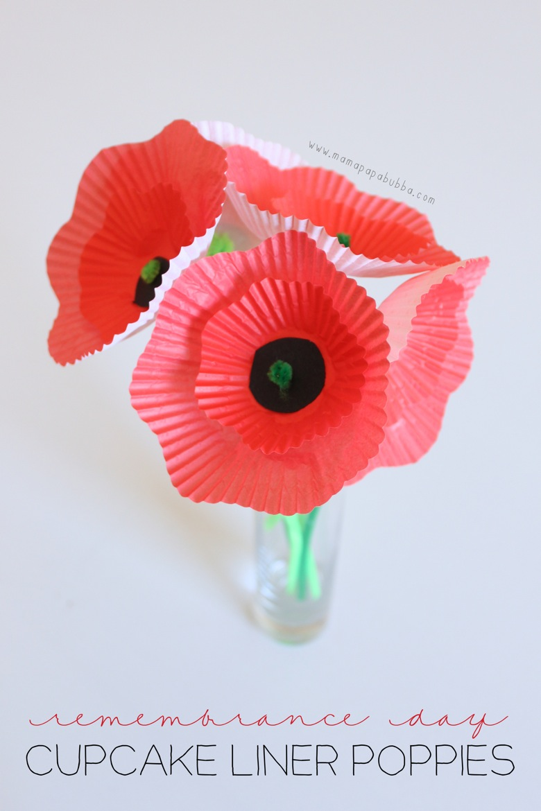 Remembrance Day Cupcake Liner Poppies | Mama Papa Bubba