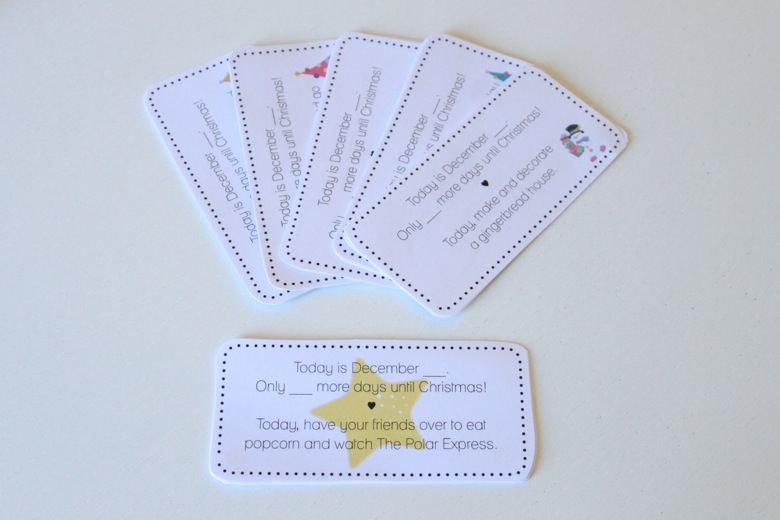 Tarjetas imprimibles con tareas navideñas