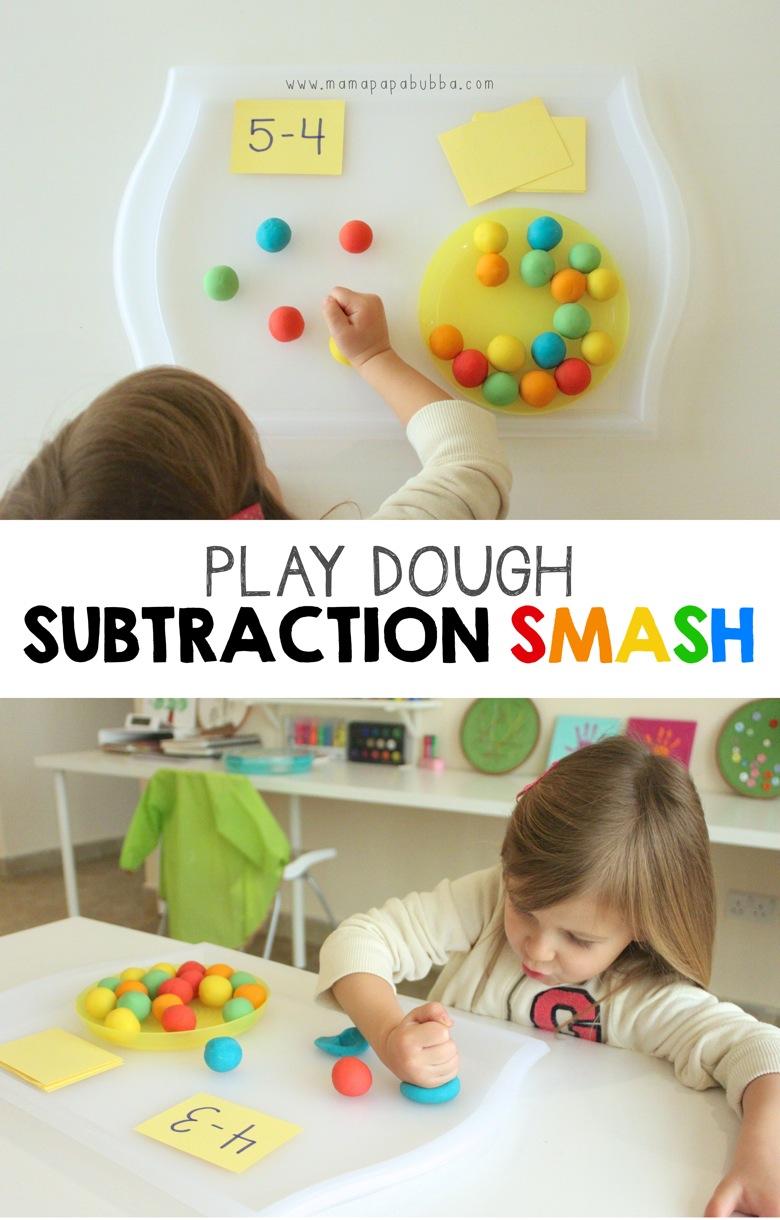 Play Dough Subtraction Smash | Mama Papa Bubba