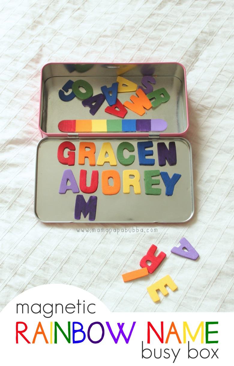 Magnetic Rainbow Name Busy Box | Mama Papa Bubba