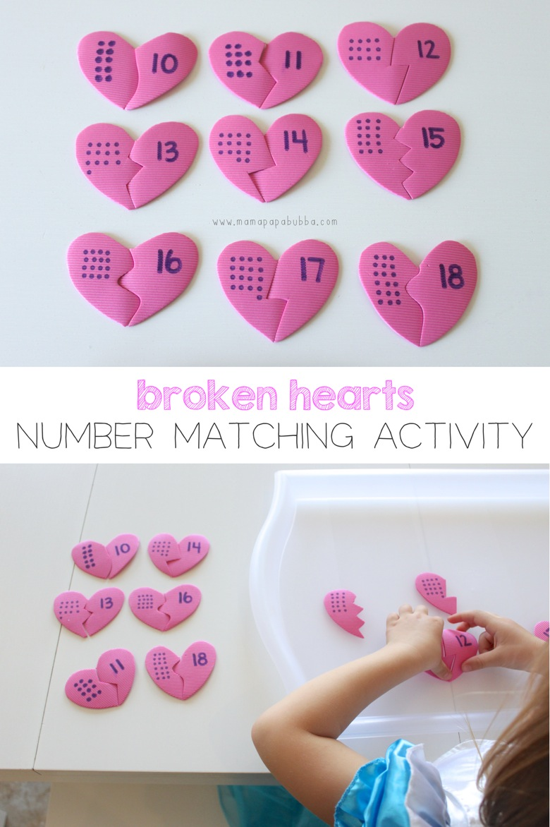 Broken Hearts Number Matching Activity | Mama Papa Bubba