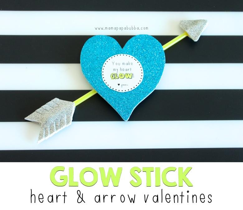 Glow Stick Heart and Arrow Valentines | Mama Papa Bubba