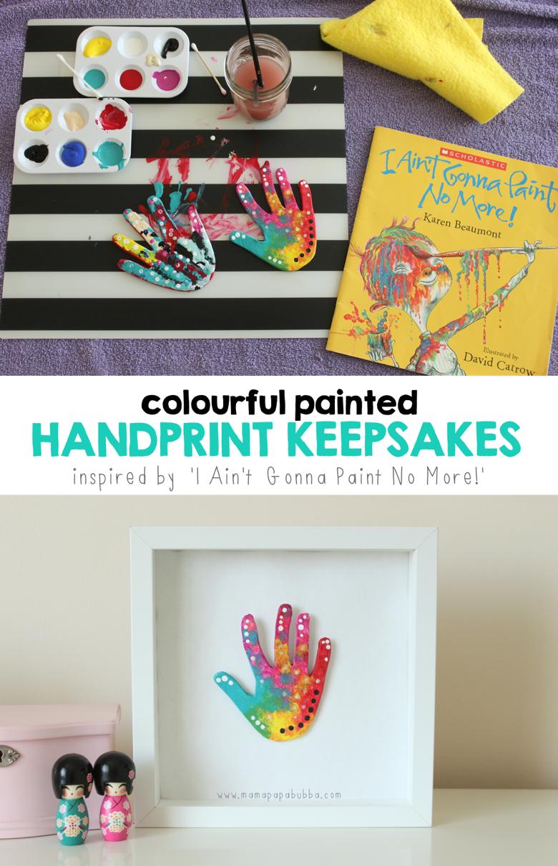 Colourful Painted Handprint Keepsakes | Mama Papa Bubba