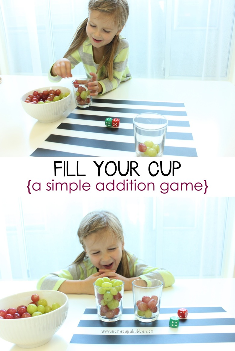 Fill Your Cup  a simple addition game | Mama Papa Bubba